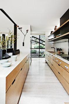 pale wood floors, pale wood cabinets, kitchen, bridge house, via jws interiors