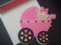 Baby Girl in Pink Stroller Card Baby Shower Cards Invitations Cards for Kids