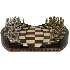 Chess Arena | Handmade Chess Set with Classy Metal Figures | Walnut, Mother of Pearl, Metal | Gift for Chess Lovers by HelenaWoodArt on Etsy https://www.etsy.com/listing/583402520/chess-arena-handmade-chess-set-with