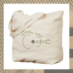 Guitar Canvas Tote Bag by Jennifer Robin Designs