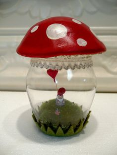 Red Amanita Mushroom Gnome Terrarium Gnome with by WorkofWhimsy Message In A Bottle, Glass Containers, Terrariums, Gnomes, Snow Globes, Stuffed Mushrooms, Miniatures, Gardens, Clay