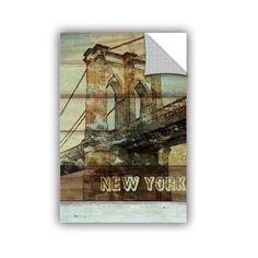 """ArtWall Irena Orlov New York Brooklyn Bridge Wall Decal Size: 18"""" H x 12"""" W x 0.1"""" D"""