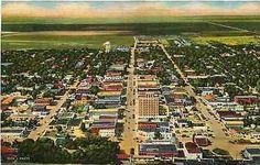 Clovis New Mexico 1948 Aerial View Town Railroad Depot Antique Vintage Postcard