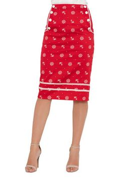 d3b28a2750 Valerie Wheel And Anchor Pencil Skirt Navy by Voodoo Vixen at Inked  Boutique.