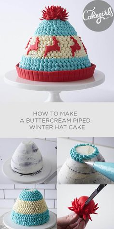 See all the step to create this nubby buttercream piped winter hat cake! cake decorating tips and tricks Mini Cakes, Cupcake Cakes, Cupcakes, Buckwheat Cake, Hat Cake, Ricotta Cake, Apple Smoothies, Holiday Cakes, Savoury Cake