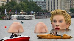 'The Bather' ('Die Badende') - a giant woman sculpture by Oliver Voss, presented In Hamburg, Germany's Binnenalster Lake; the sculpture spent 10 days in the lake in August 2011 Steel Sculpture, Sculpture Art, Street Art, Graffiti, Lake Photos, Bathing Beauties, Public Art, Installation Art, Around The Worlds