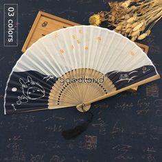 Fan Decoration, Dance Gifts, Totoro, Hand Fan, Silk Fabric, Japanese, Black And White, Wedding Dancing