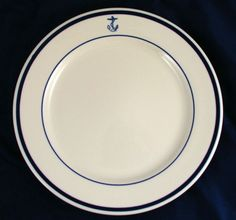 Vintage USN US Navy Fouled Anchor China Dinner Plate - I couldn't begin to tell you how many meals I ate on plates like this.