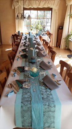 My table decoration for confirmation - Frisur Ideen Centerpiece Decorations, Party Centerpieces, Decoration Table, Wedding Decorations, Tiffany Blue Weddings, Tiffany Wedding, Gray Weddings, Teal And Grey Wedding, Wedding Table Settings