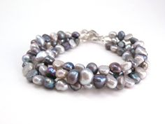 Gray Pearl Bracelet Shades of Gray Freshwater by ChristinesJewelry, $27.00