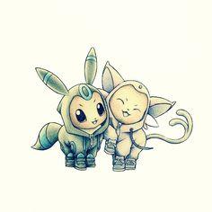 Pokémon - 133 Eevee [Espeon and Umbreon Cosplay] art by itsbirdy (Sankaku Channel)
