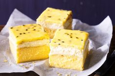 Vanilla slice with passionfruit icing - - -  Master the art of this nostalgic slices guaranteed to light up your eyes and tempt your tastebuds.