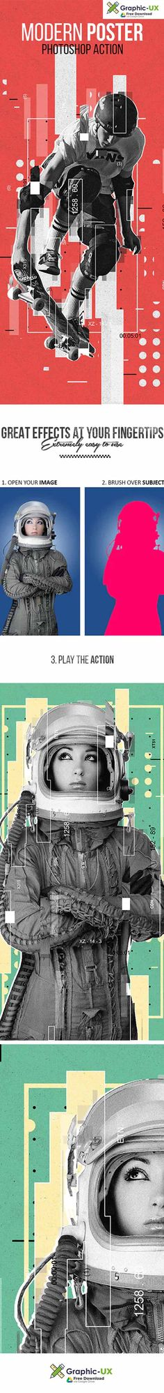 Modern Poster Photoshop Action free download – GraphicUX Free Photoshop, Photoshop Actions, Color Effect, Lightroom Presets, Modern, Movie Posters, Photography, Design, Trendy Tree