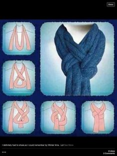 Great way to tie a scarf! I'm using this the next time I knit a nice scarf. If I'm gifting the scarf, I'll add sketches of this (and some other scarf knots) to the card. Look Fashion, Diy Fashion, Fashion Beauty, Ideias Fashion, Winter Fashion, Fashion Tips, 1950s Fashion, Vintage Fashion, Fashion Hacks