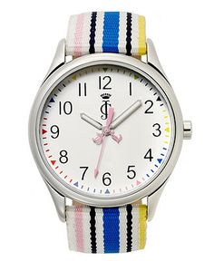Juicy Couture Watch, Women's Darby Rainbow Stripe Grosgrain Fabric Strap 1900913 - All Watches - Jewelry & Watches - Macy's Juicy Couture Watch, Grosgrain, Jewelry Watches, Rainbow, Fabric, Rain Bow, Tejido, Rainbows, Tela