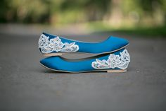 Wedding Flats - Teal Blue Bridal Flats/Wedding Shoes with Ivory Lace Applique. US Size 8. $61.00, via Etsy.