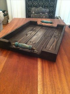 "Custom Order for a customer. Reclaimed dark stained stained serving tray with turquoise handles. 22"" x 16"" x 3"" #etsy #naturecolorlovers #forsale"