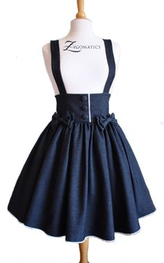 Lolita Denim High-Waisted Skirt casual lolita