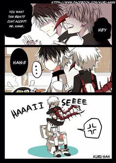 That's just a tad bit creepy Kaneki. But uh Haise has other things to worry about (lookin' at you even creepier little Kaneki)