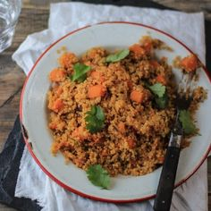 Healthy quinoa salad with sweet potato and spices