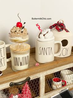 Tiered Tray Signs & Toppers For Rae Dunn Mugs by ButtermilkChic Fall Crafts, Holiday Crafts, Holiday Fun, Cricut Christmas Ideas, Christmas Decorations, Aunt Betty, Hot Chocolate Bars, Fake Food, Mugs