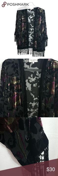 de07974cdaf5 J.R Nites Velvet Burnout Fringed Kimono Sz Med Black Floral Velvet Burn out  Fringed Kimono.