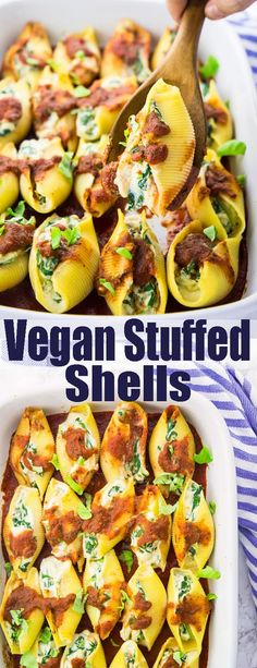 These vegan stuffed shells with spinach make such a delicious vegan dinner! They're filled with spinach and vegan ricotta. One of my favorite pasta recipes! Find more vegan recipes and dinner ideas at veganheaven.org!
