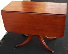 Antique Gorgeous Mahogany Drop Leaf Table With Metal Claw Feet Tips