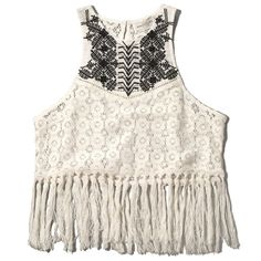 Abercrombie & Fitch Floral Lace Tassel Tank ($38) ❤ liked on Polyvore featuring tops, blusas, shirts, t-shirts, cream, lace tank top, white floral shirt, white lace tank, white lace shirt and high neck tank top