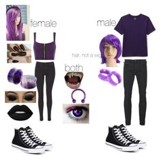 """""""Astrid (fem and male)"""" by durarara85 ❤ liked on Polyvore featuring Converse, Scotch & Soda, WearAll, Maison Scotch, Lands' End, KAOS and Lime Crime"""