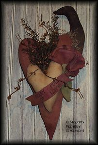 Primitive Valentines Double Heart door doll with crow, rose & banner for sale handmade by Megans Primitive Cupboard