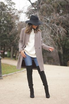 houndstooth coat, white sweater, over the knee boots, black hat, outfit, style, jeans08