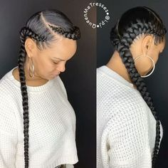 two braid hairstyles Step By Step Box Braids Hairstyles, Try On Hairstyles, Trending Hairstyles, African Hairstyles, 2 Cornrow Braids, Protective Hairstyles, Black Hairstyles, Corn Row Hairstyles, Braided Cornrow Hairstyles