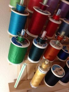 The Craft Storage Solutions series continues today with thread and bobbin storage ideas! Since beginning to sew a couple of years ago I have discovered that the collection of spools of threads (not to Bobbin Storage, Thread Storage, Sewing Room Storage, My Sewing Room, Sewing Rooms, Craft Storage Solutions, Storage Ideas, Storage Rack, Tool Storage