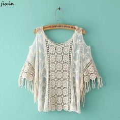 Cream Boho Blouse with fringe, crochet, and lace, Boho Boutique, Bohemian Mode, Bohemian Style, Boho Chic, Bohemian Schick, Casual Chique, Plus Size Kimono, Boho Fashion, Womens Fashion, Fashion Dresses