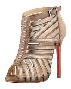X1RJJ Christian Louboutin Karina Caged Red-Sole Ankle Bootie, Greige