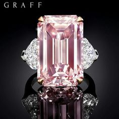 Pure carat pink diamond by Graff Diamonds. Its flawless emerald cut facets mesmerise and captivate with intense perfect beauty. Graff Jewelry, Pink Jewelry, Jewelery, Silver Jewelry, Bijoux Or Rose, Pink Diamond Ring, Pink Diamond Engagement Ring, Solitaire Engagement, Emerald Cut