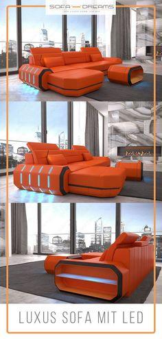 Das Ecksofa Roma von dem Designer Möbel Online Shop Sofa-Dreams ist ein wahrer Hingucker in jedem modernen Wohnzimmer. Moderne Luxus Häuser und Villen legen Wert auf eine stilvolle Einrichtung. Das Luxus Ledersofa ist perfekt dafür geeignet. Hier findest du noch weitere Wohnideen für dein Luxus Haus. #Sofa #Ecksofa #Interior #einrichtungsideen #Wohnzimmer