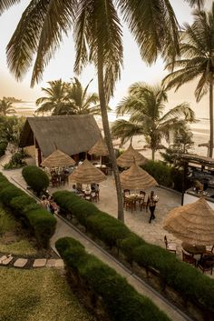Aerial view of the lovely beach side setting of the Kombo Beach Hotel in The Gambia, West Africa.