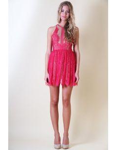 LACE UP Hot Pink Dress
