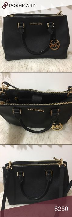 Mk Michael Kors Medium Sutton Satchel in black This beautiful black saffiano satchel will complete any outfit. Authentic. Sophisticated and chic. Gently used, minor wear on gold hardware other then that, the leather looks new (it is saffiano leather). Interior three slot packets and one for your phone, 1 zip pocket and exterior top feature two extra zipper compartments. Detachable straps, can be worn over the shoulders or held in hand. Sold out in store! Comes with dust bag. Price…