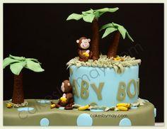 Jungle Monkey Baby Shower Cake  I think I like the monkey theme!