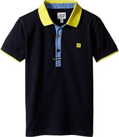 6908ca1f9580a Amazon.com  Armani Junior Baby Boy s Navy Polo with Yellow Collar and  Button Detail (Toddler Little Kids Big Kids) Indigo Shirt  Clothing