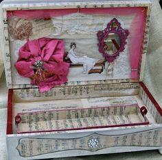 Altered silverware box into jewelry box