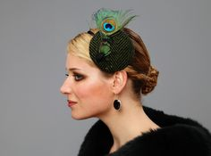 green headpiece - made of feathers, wool tweed & vintage button