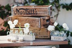 White Flowers and Vintage Crates #flowers #woodcrate #wedding √