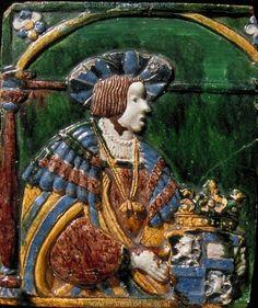 Porträt    König Ferdinand I.       Dieses Bild: 013742      Kunstwerk: Töpferarbeit-Keramik ; Einrichtung profan ; Ofenkachel ; Ungarn   Dokumentation: 1530 ; 1530 ; Budapest ; Ungarn ; Iparmüveszeti Muzeum ; IN 4826