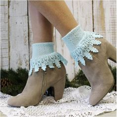 lace socks - sea breeze - lace boot socks - socks - cuff socks - signature Lace Boot Socks, Boot Cuffs, Socks For Flats, Frilly Socks, Lace Cuffs, Bare Foot Sandals, Breeze, Peep Toe, Ankle Boots