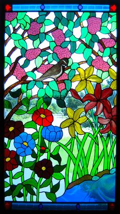 Sparrow Stained Glass Panel or Window by YokumDesigns on Etsy, $3800.00
