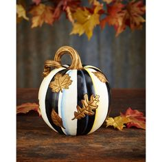MacKenzie-Childs Falling Leaves Small Pumpkin ($57) ❤ liked on Polyvore featuring home, home decor and pumpkin home decor